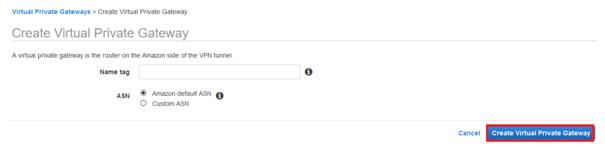 Amazon default ASN and click button Create Virtual Private Gateway