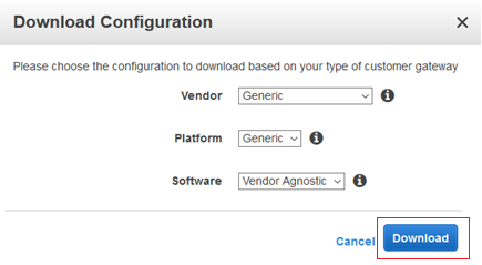Download Configuration window