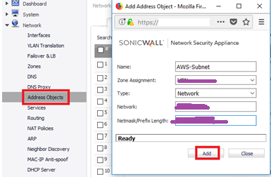 SonicWALL Web console
