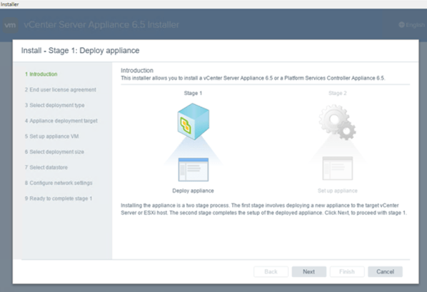 Select Deploy appliance