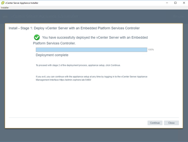 To deploy vCenter appliance