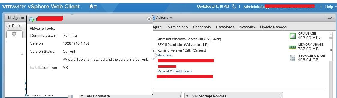 Verify the VMware tool version