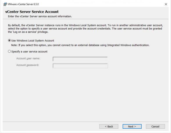 Select vCenter services