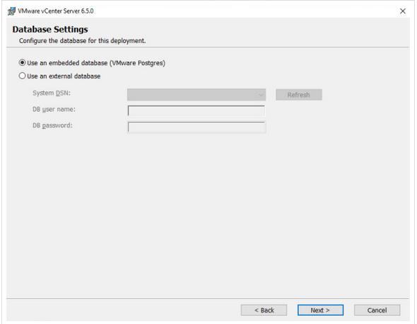 Select an embedded Postgre database