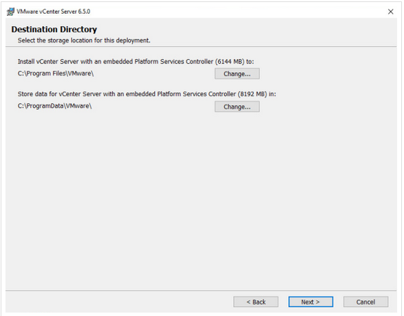 Choose the directory to install vCenter services