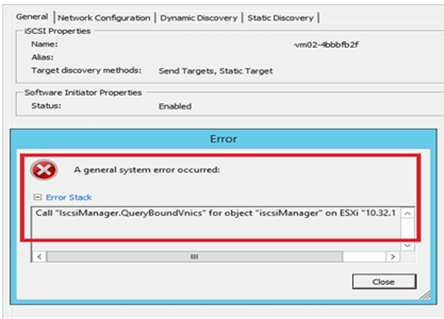 error message in iSCSI adapter