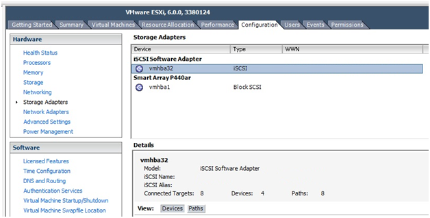 screen shot for iscsi software adapter property section
