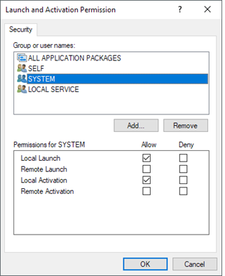 Launch and Activation Permission to SYSTEM