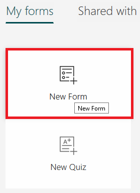 Click on New Form