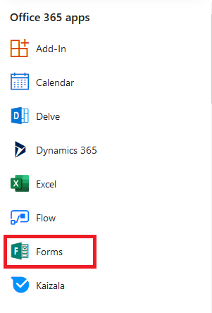 click on Microsoft Forms